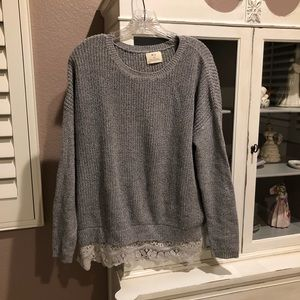Gray Sweater with Lace Bottom